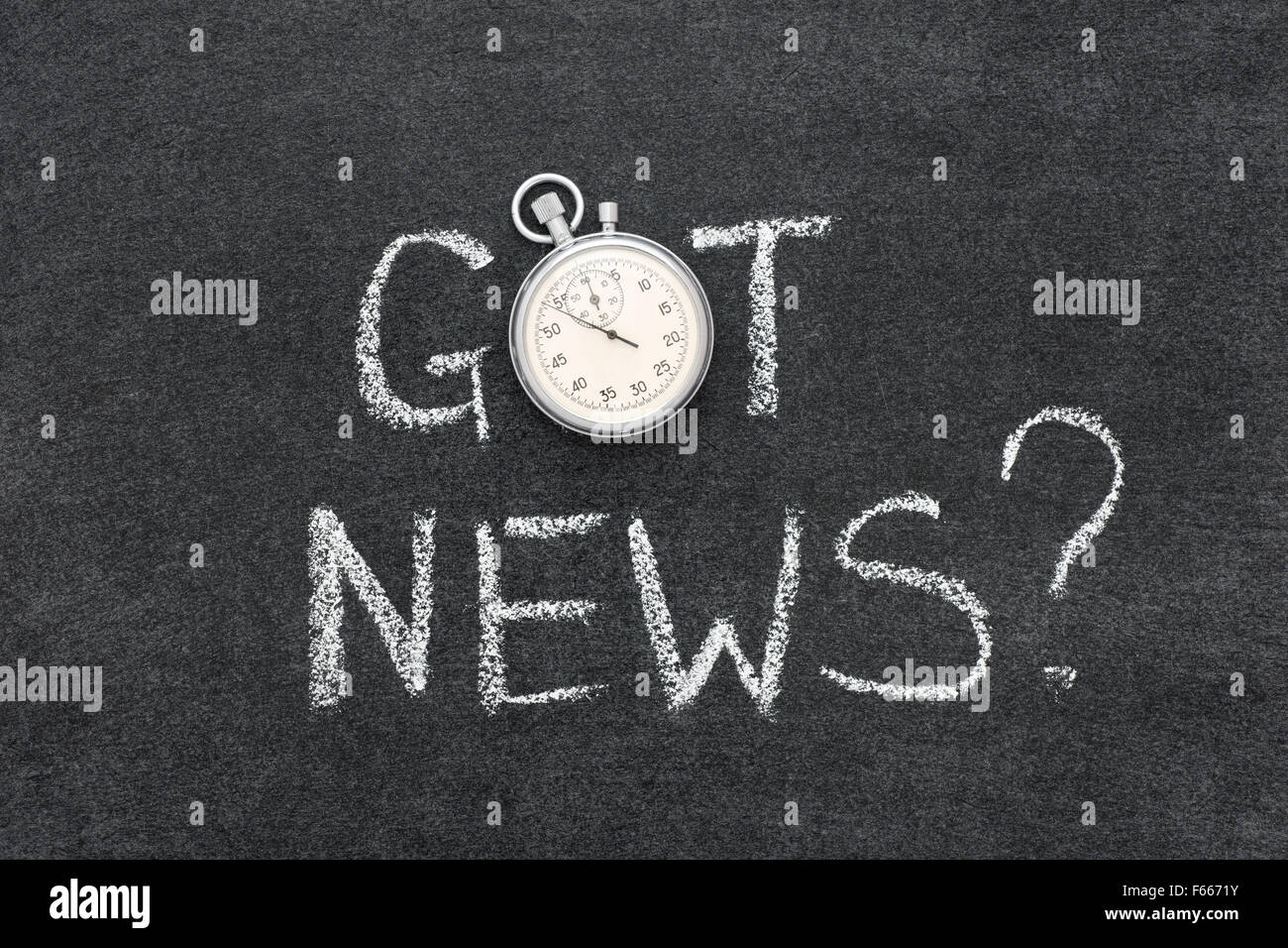 got news question handwritten on chalkboard with vintage precise stopwatch used instead of O - Stock Image