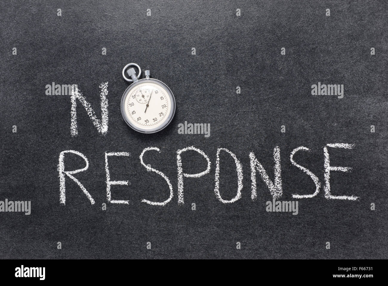 no response phrase handwritten on chalkboard with vintage precise stopwatch used instead of O - Stock Image