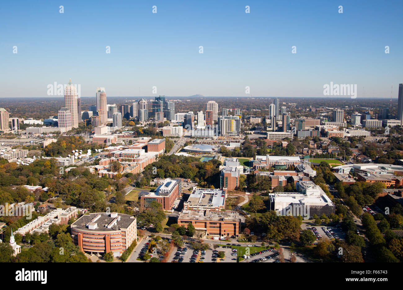 Aerial Photograph of Atlanta, Georgia USA taken on 11/10/2015 showing the Midtown Atlanta area - Stock Image