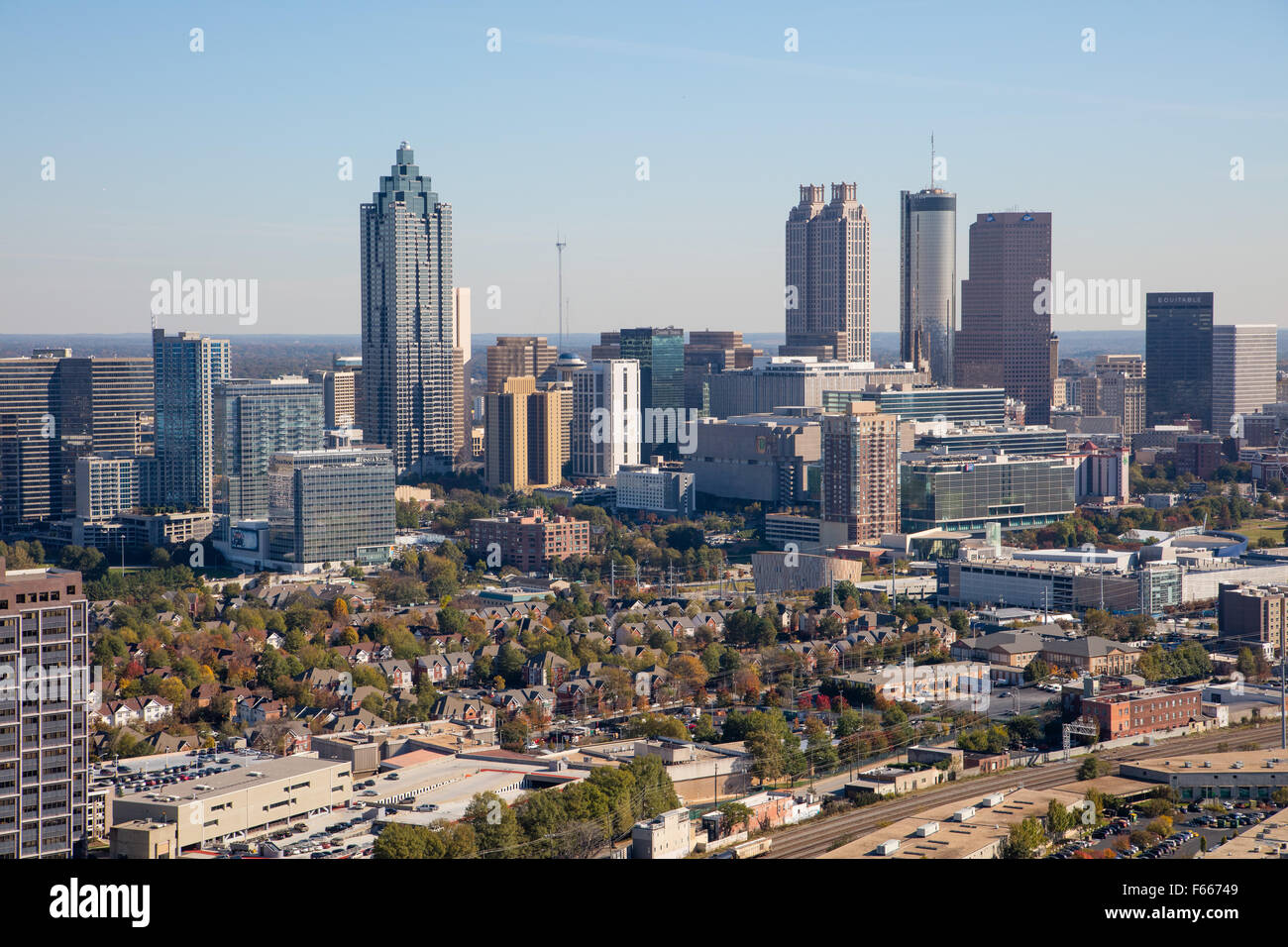 Aerial Photograph of Atlanta, Georgia USA taken on 11/10/2015 - Stock Image