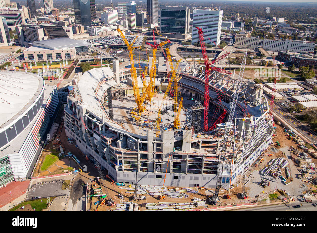 Aerial Photograph of Atlanta, Georgia USA taken on 11/10/2015 showing construction of the Mercedes Benz Stadium - Stock Image