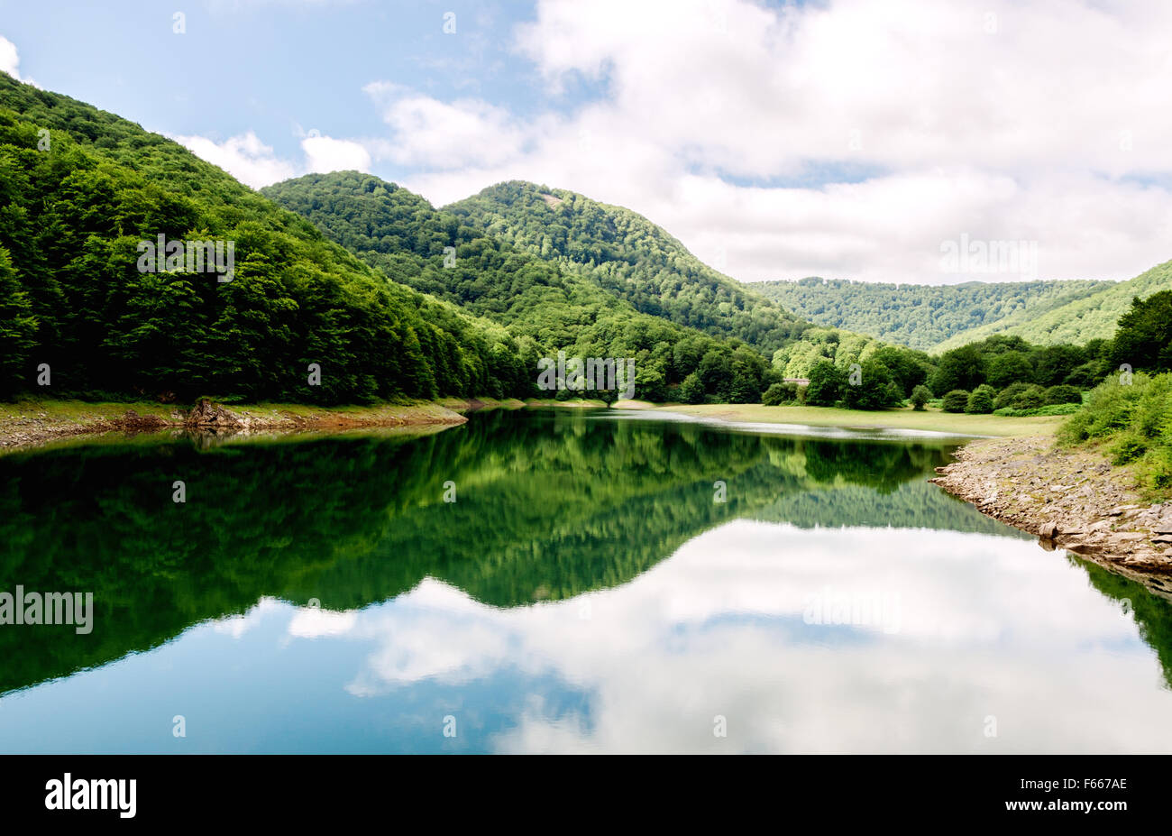 In northwest Navarre, between the towns of Urrotz and Beintza-Labaien two dams built in 1920. In the middle of the - Stock Image