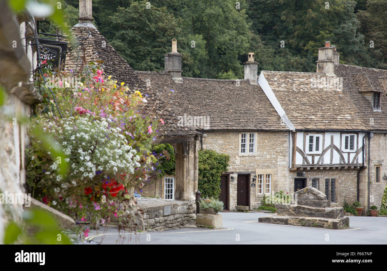 Castle Combe regarded by some as  'The Prettiest Village in England',  Wiltshire, England, UK - Stock Image