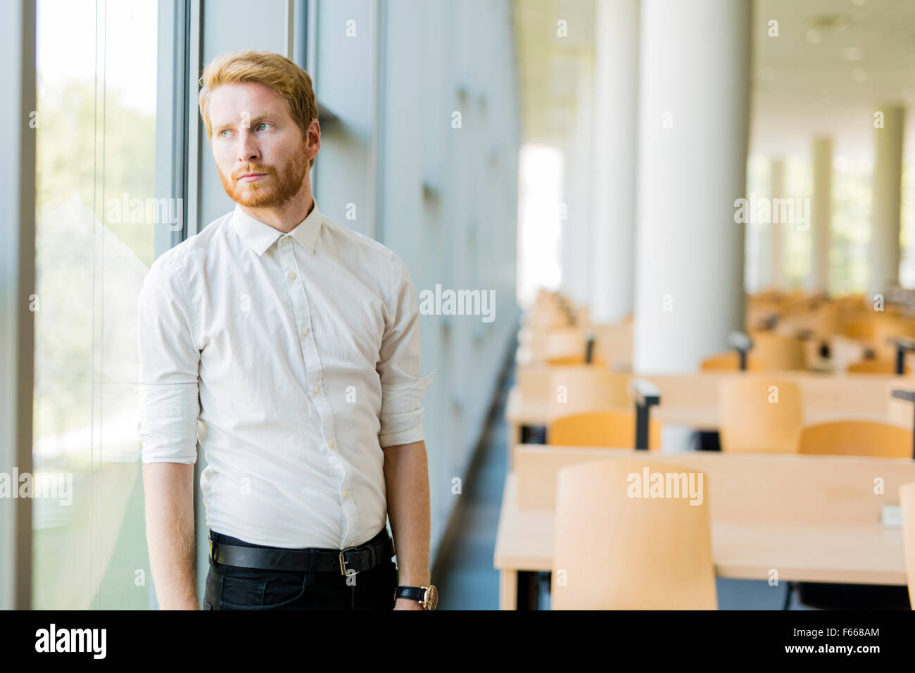 Portrait of a successful businessman standing by the window - Stock Image