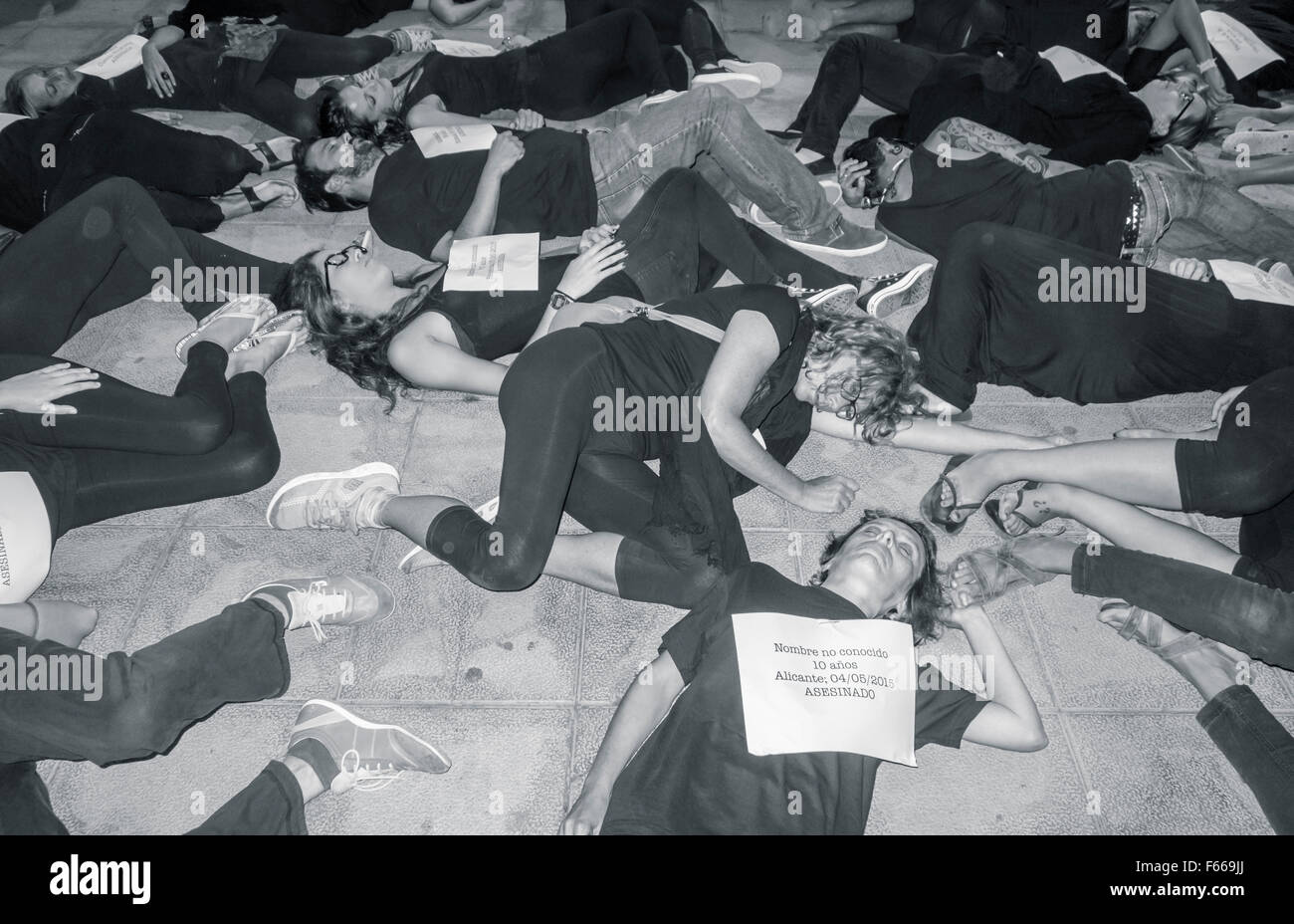 Thousands of Spanish women march against domestic violence. Stock Photo