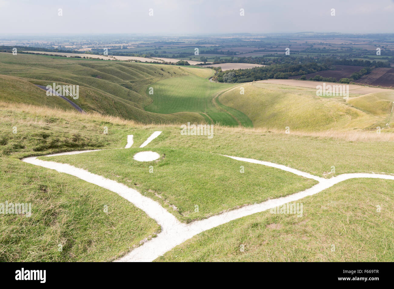 Looking from the Uffington White Horse towards the Manger and the Giants Steps, Oxfordshire, England, UK Stock Photo