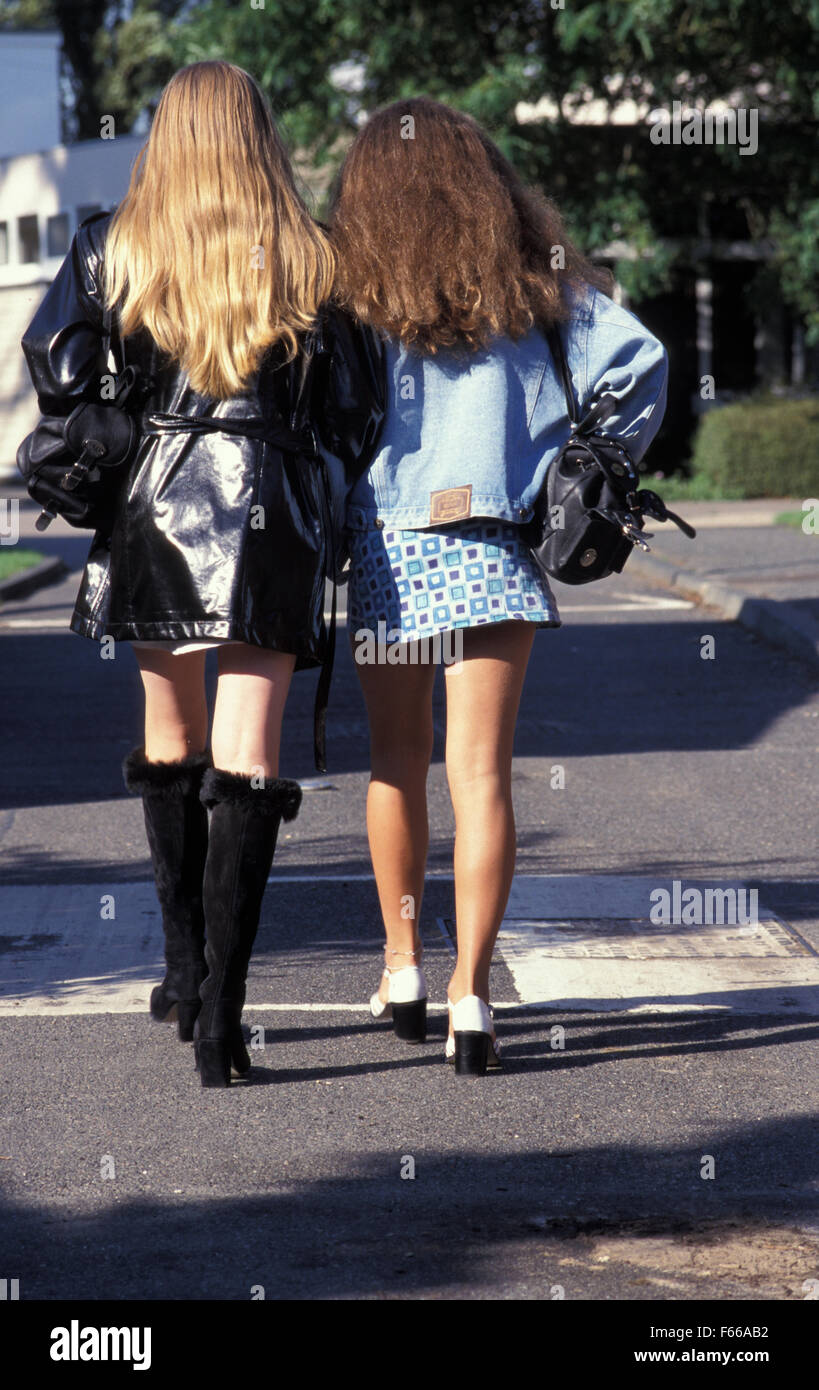 Are absolutely two young teen girls in miniskirt