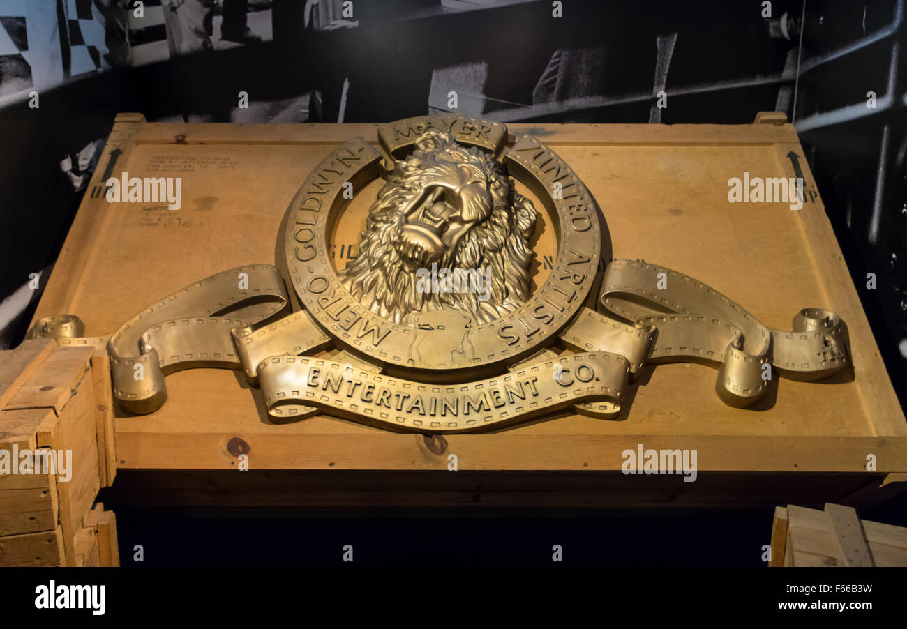 3D relief of the iconic MGM Metro-Goldwyn-Mayer logo featuring Leo the lion. - Stock Image