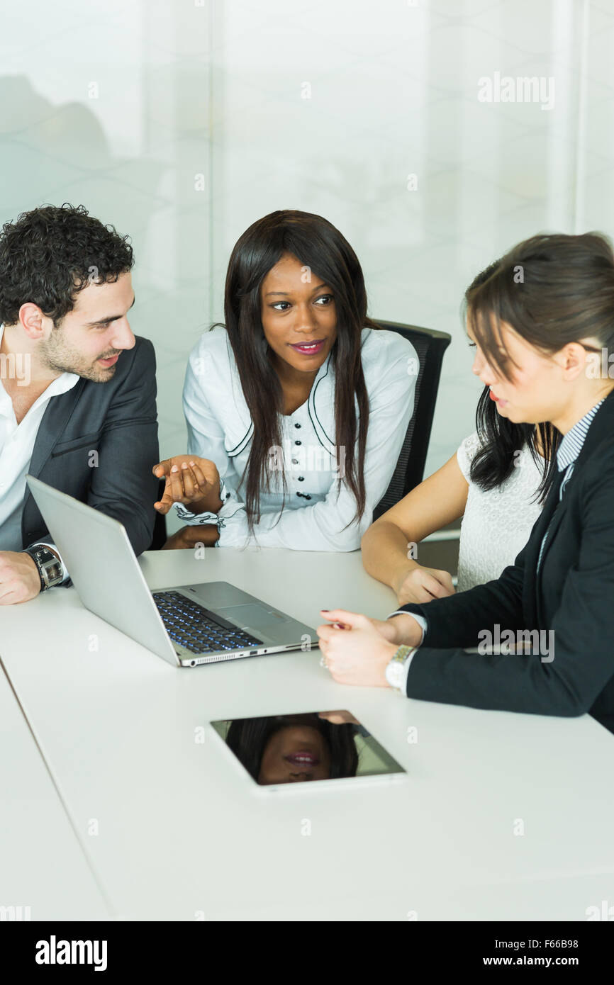 Business people talking in the modern office - Stock Image