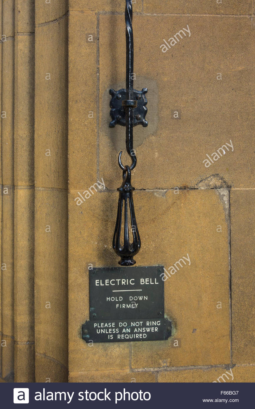 Electric Bell pull to the Masters Lodge, Christ's College, Cambridge, England, UK - Stock Image