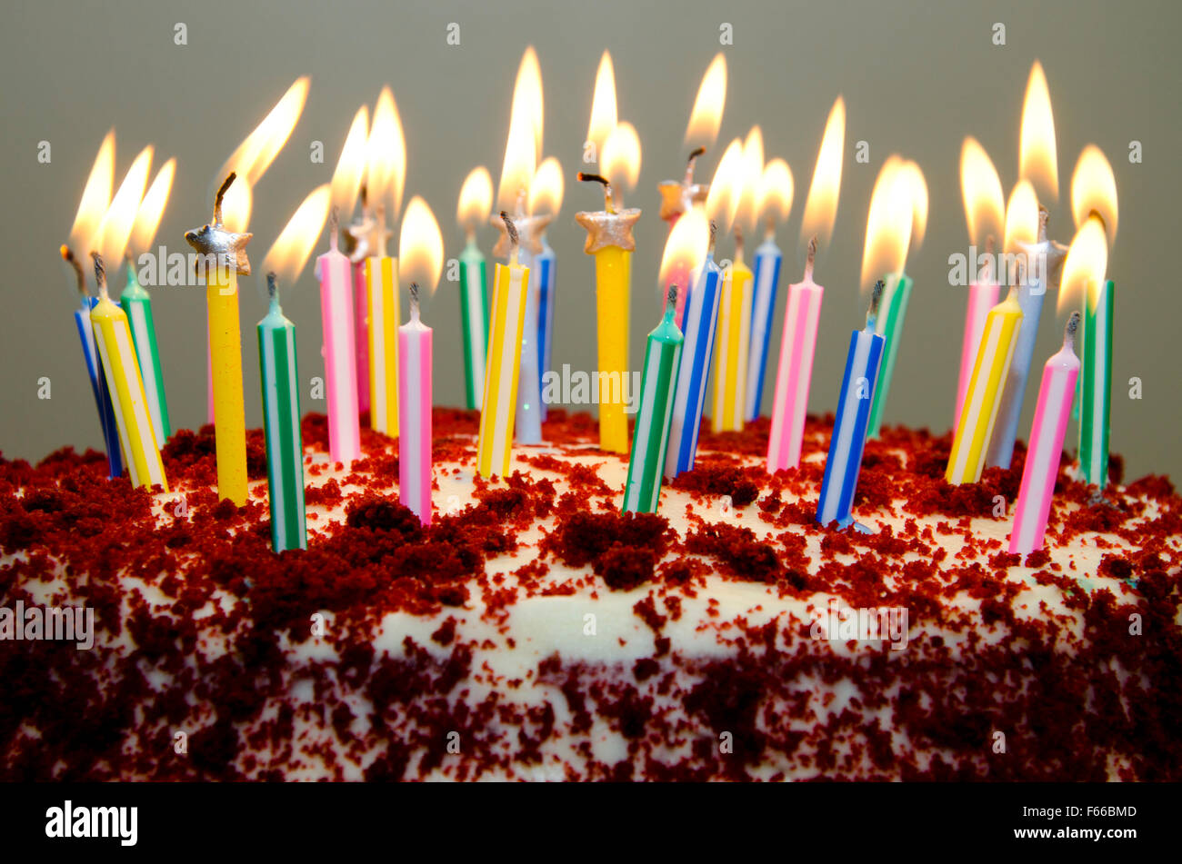 Red Velvet Birthday Cake With Candles