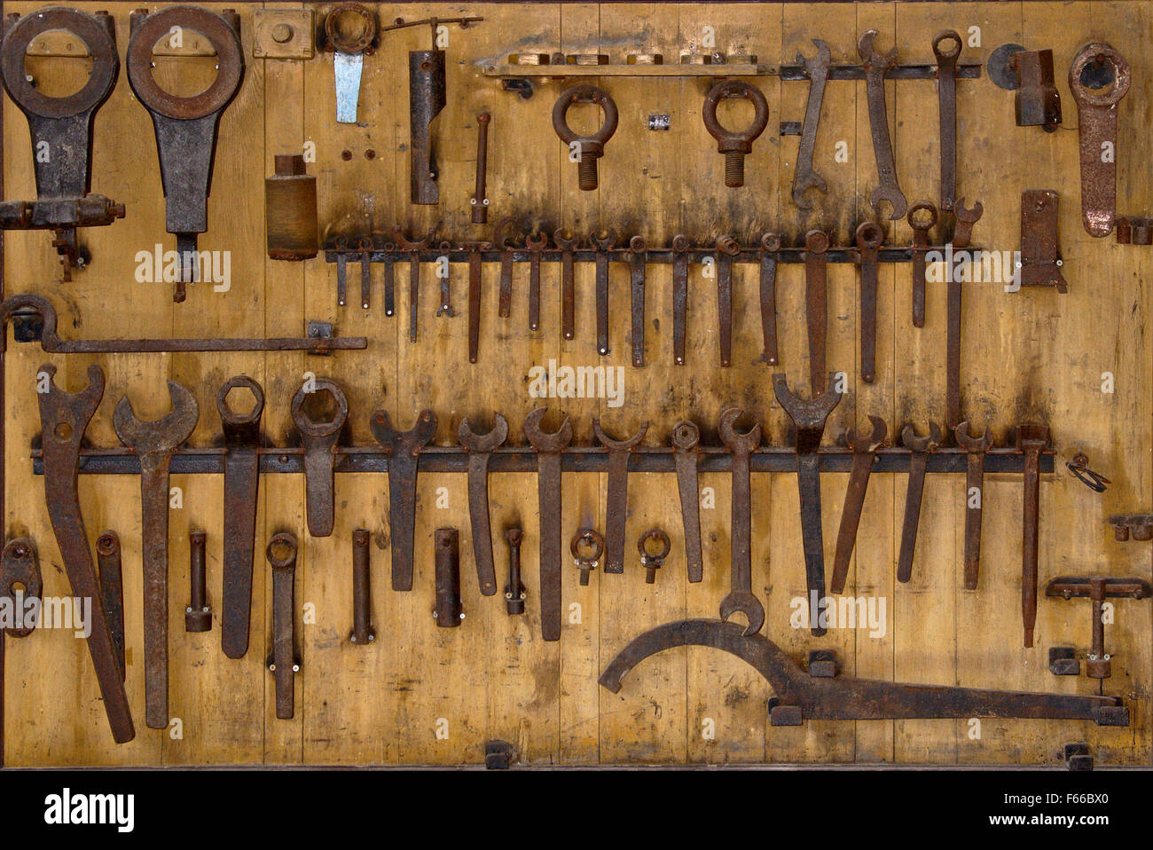 Rusty tool set from an old electricity plant - Stock Image