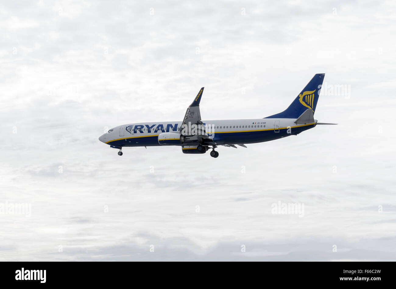 Aircraft -Boeing 737-8AS-, of -Ryanair- airline, is landing on Madrid-Barajas -Adolfo Suarez- airport. Stock Photo