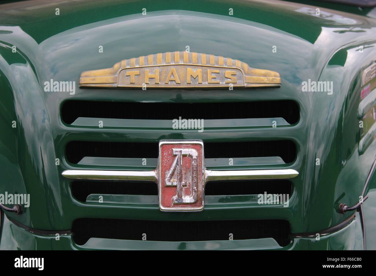 Radiator on a Ford Thames Trader  4D  MK2 diesel truck - Stock Image