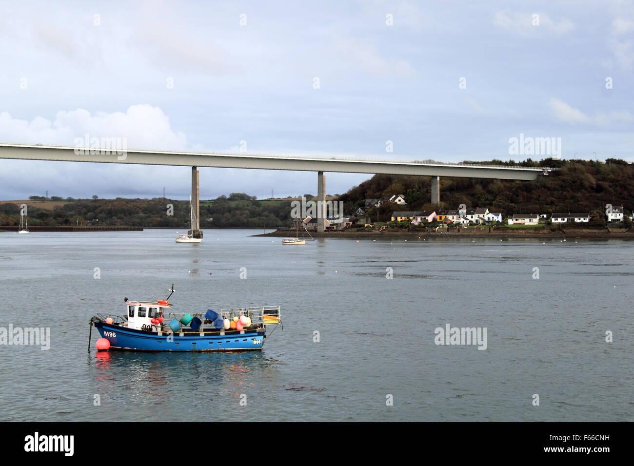 Cleddau Bridge, Neyland, Pembrokeshire, Dyfed, Wales, Great Britain, United Kingdom UK, Europe Stock Photo