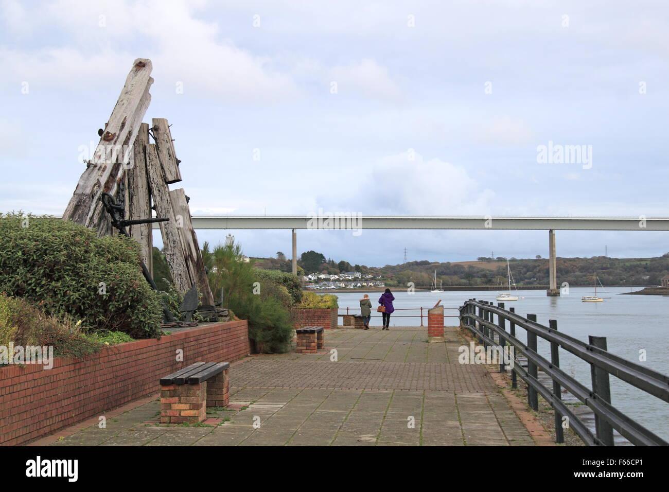 Neyland waterfront and Cleddau Bridge, Pembrokeshire, Dyfed, Wales, Great Britain, United Kingdom UK, Europe Stock Photo