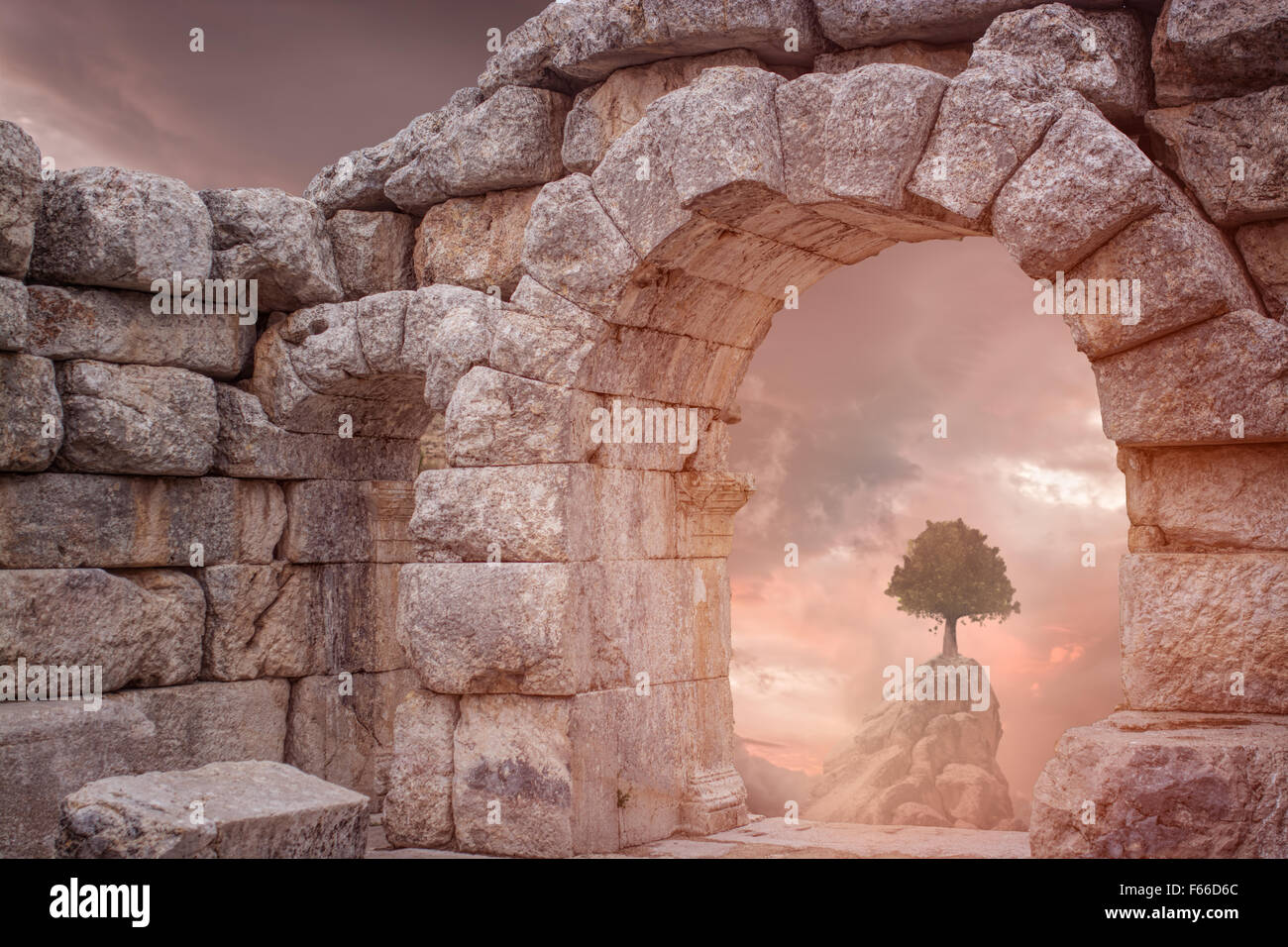 Fantasy Medieval temple and lonely tree - Stock Image