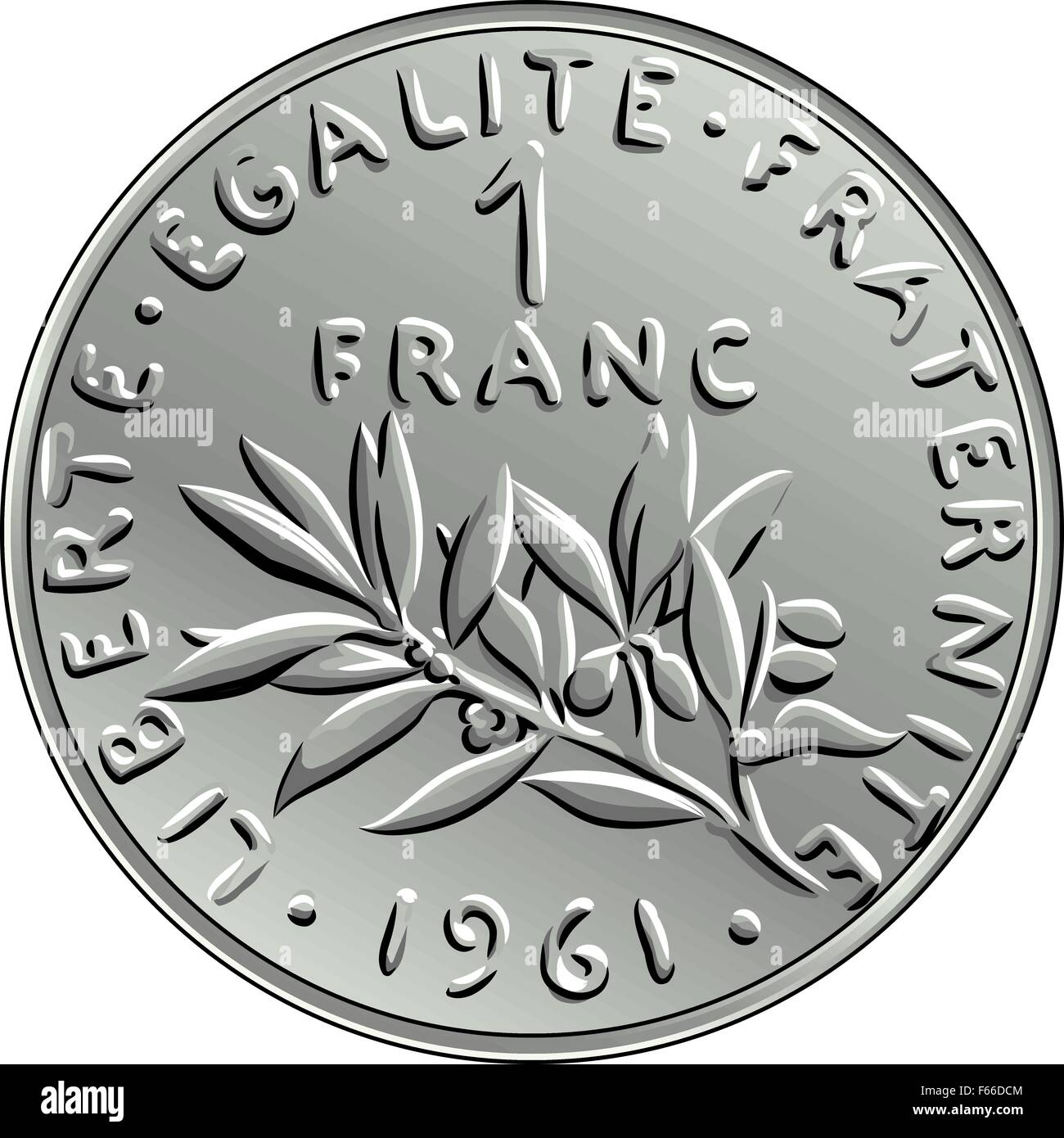 vector French money coin one franc obverse - Stock Image