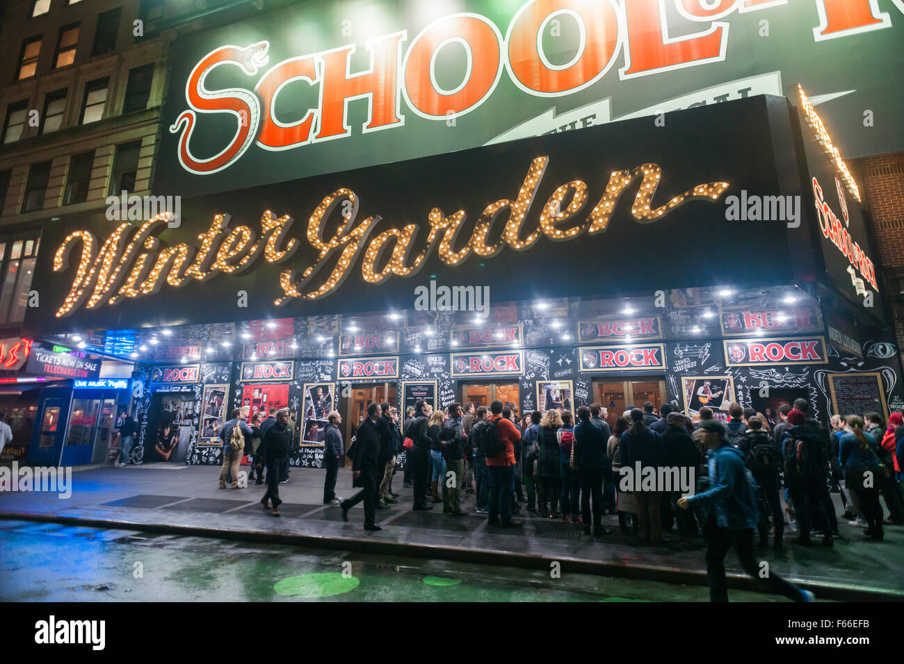 theatre goers muster for rush tickets in front of the winter garden theater on broadway in - Winter Garden Theater Nyc