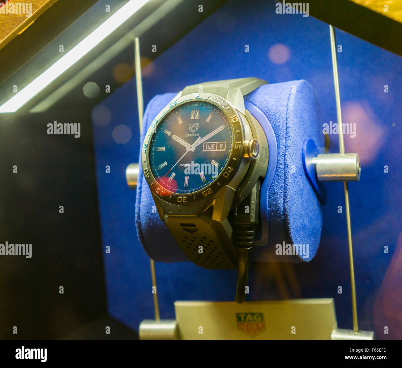 TAG Heuer Connected luxury Android Wear smartwatches in the window of their store on Fifth Avenue in New York on - Stock Image