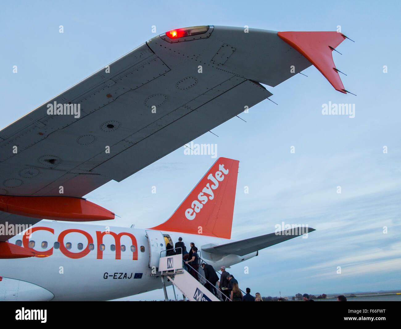 Easyjet plane at Prague airport - Stock Image