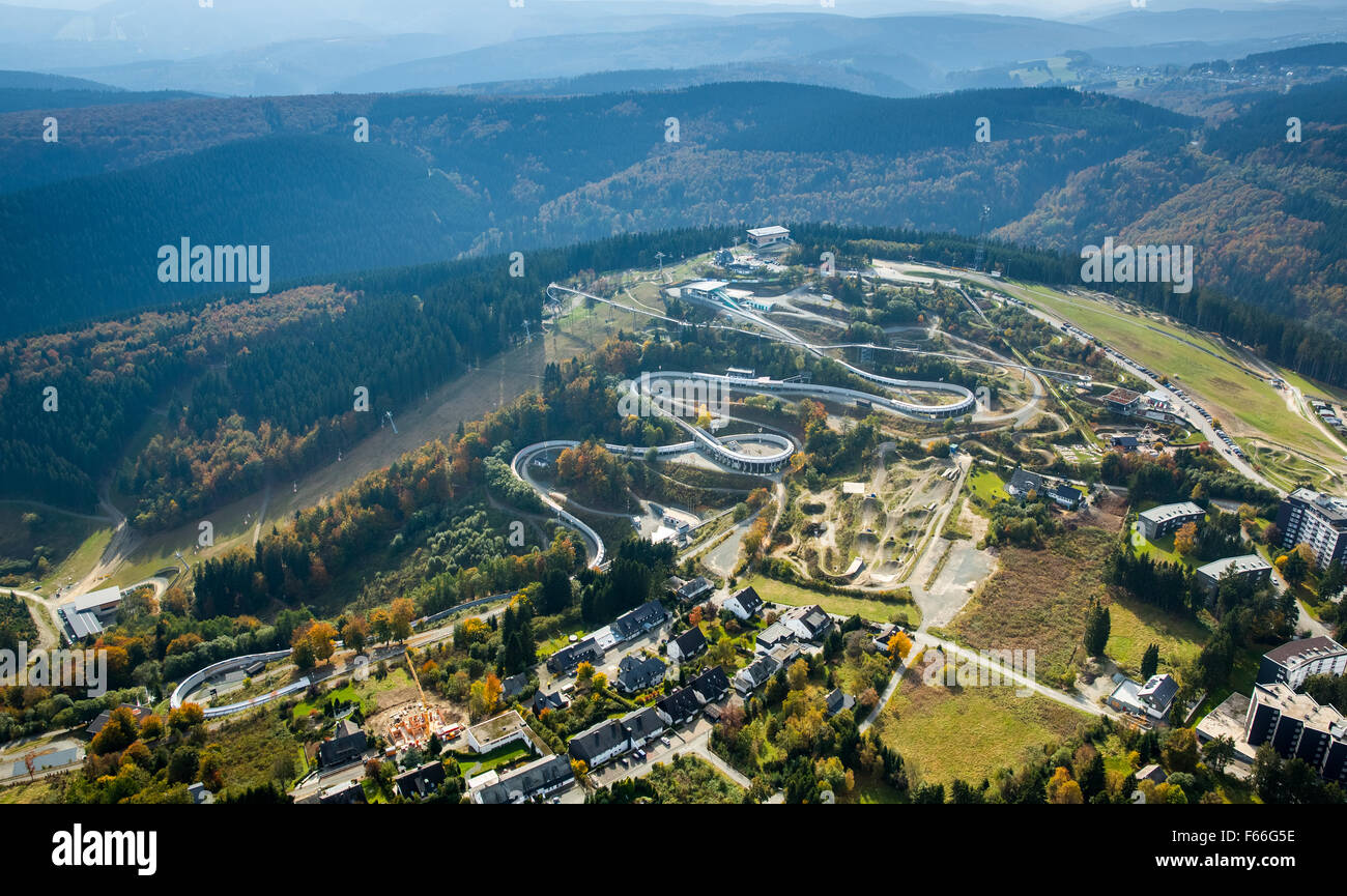 Winterberg bobsleigh aerial photography with tag Bobhaus, Winterberg, Sauerland, North Rhine-Westphalia, Germany, - Stock Image