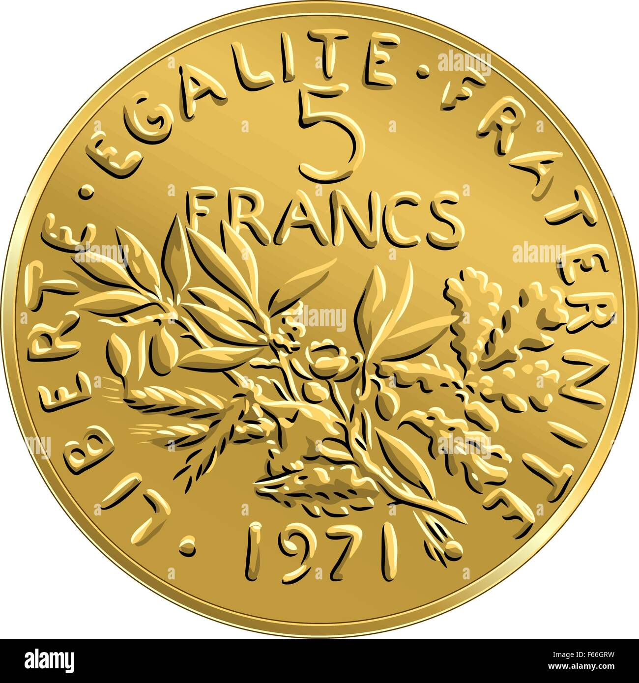 vector French money coin ffive francs obverse - Stock Image