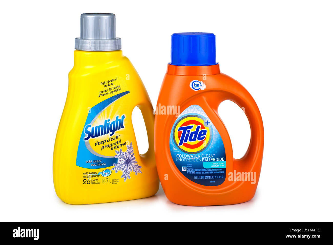 HE High Efficiency Laundry Detergents, for HE Washers, Low Sudsing Liquid Detergent - Stock Image