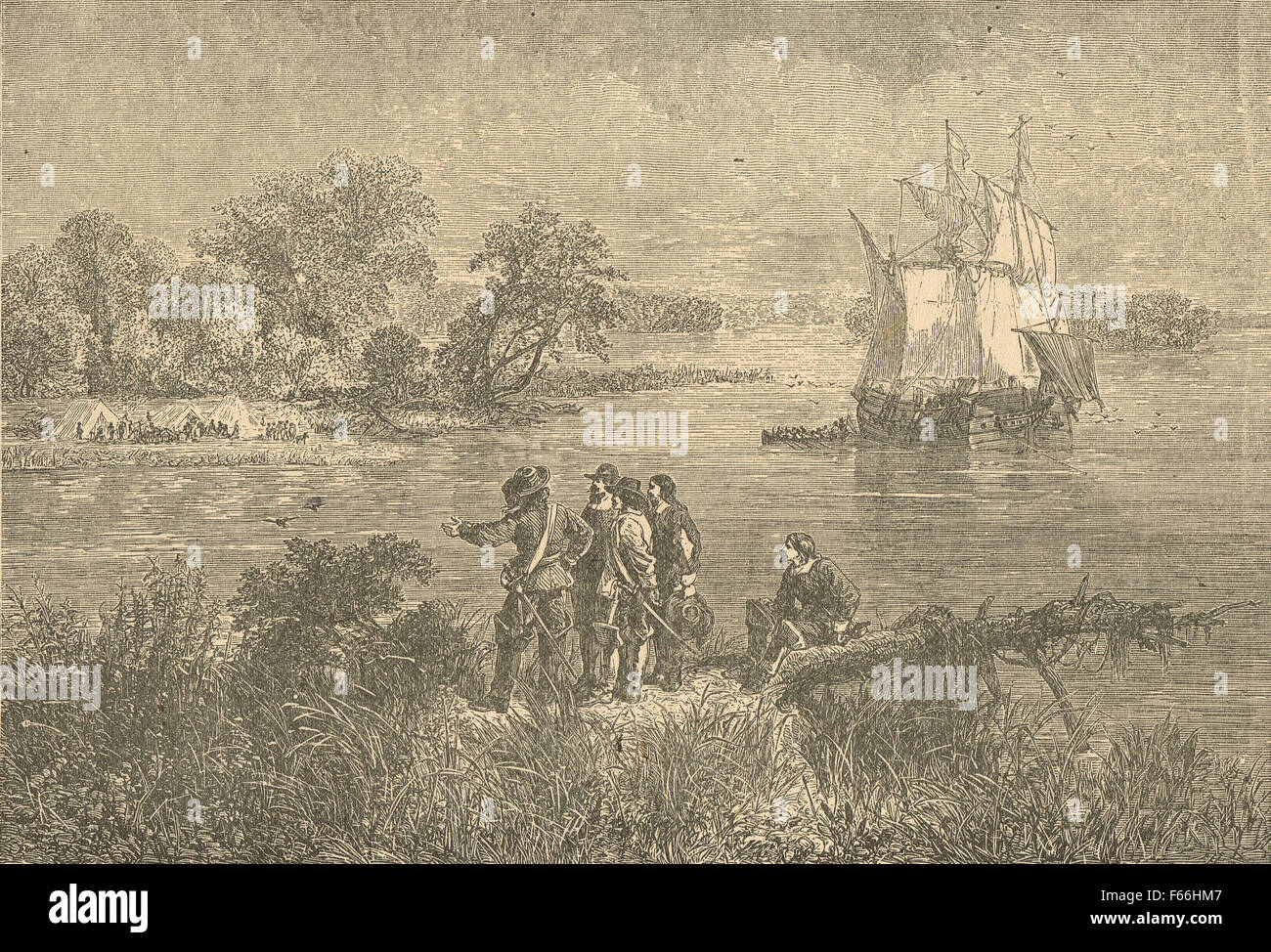 Penn's colonists on the Delaware circa 1682 - Stock Image