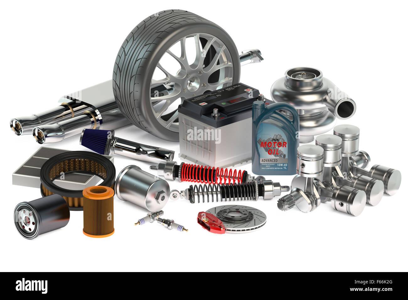 set of Car parts isolated on white background Stock Photo: 89886456 ...