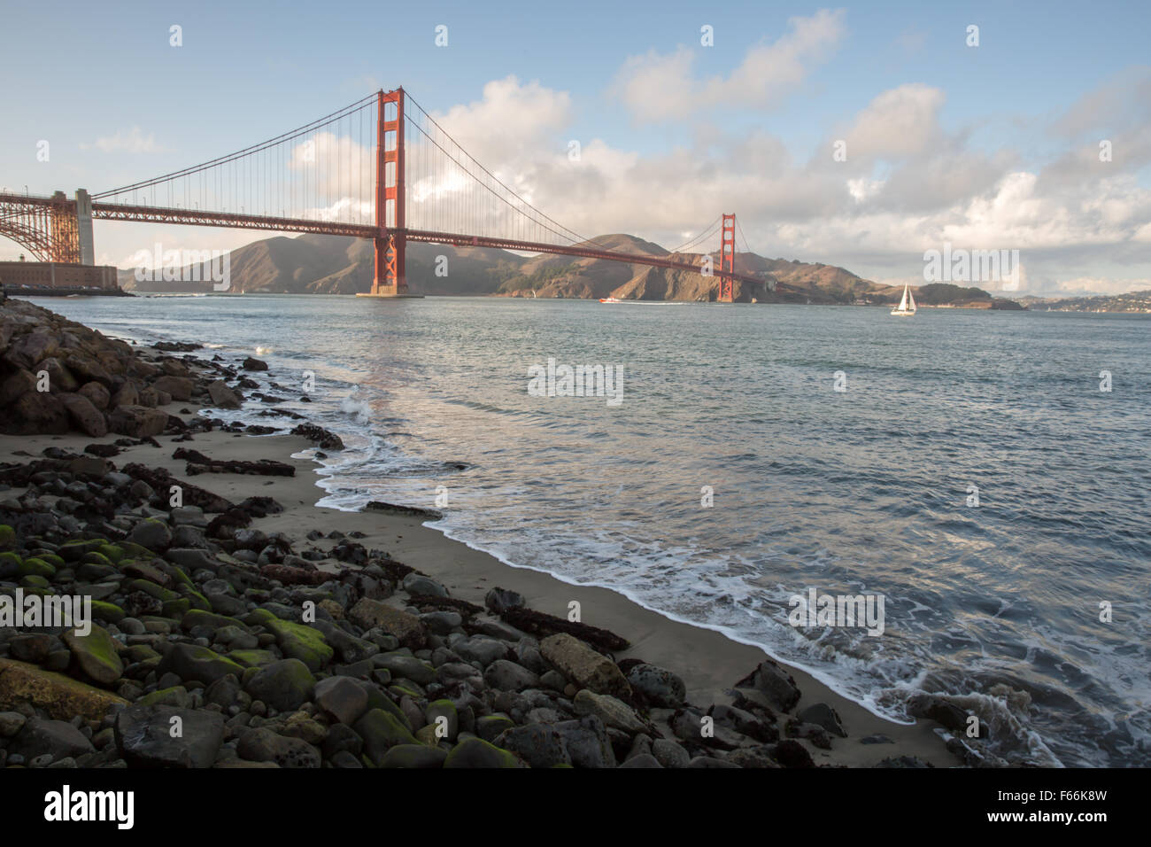 Golden Gate Bridge from Fort Point in San Francisco - Stock Image