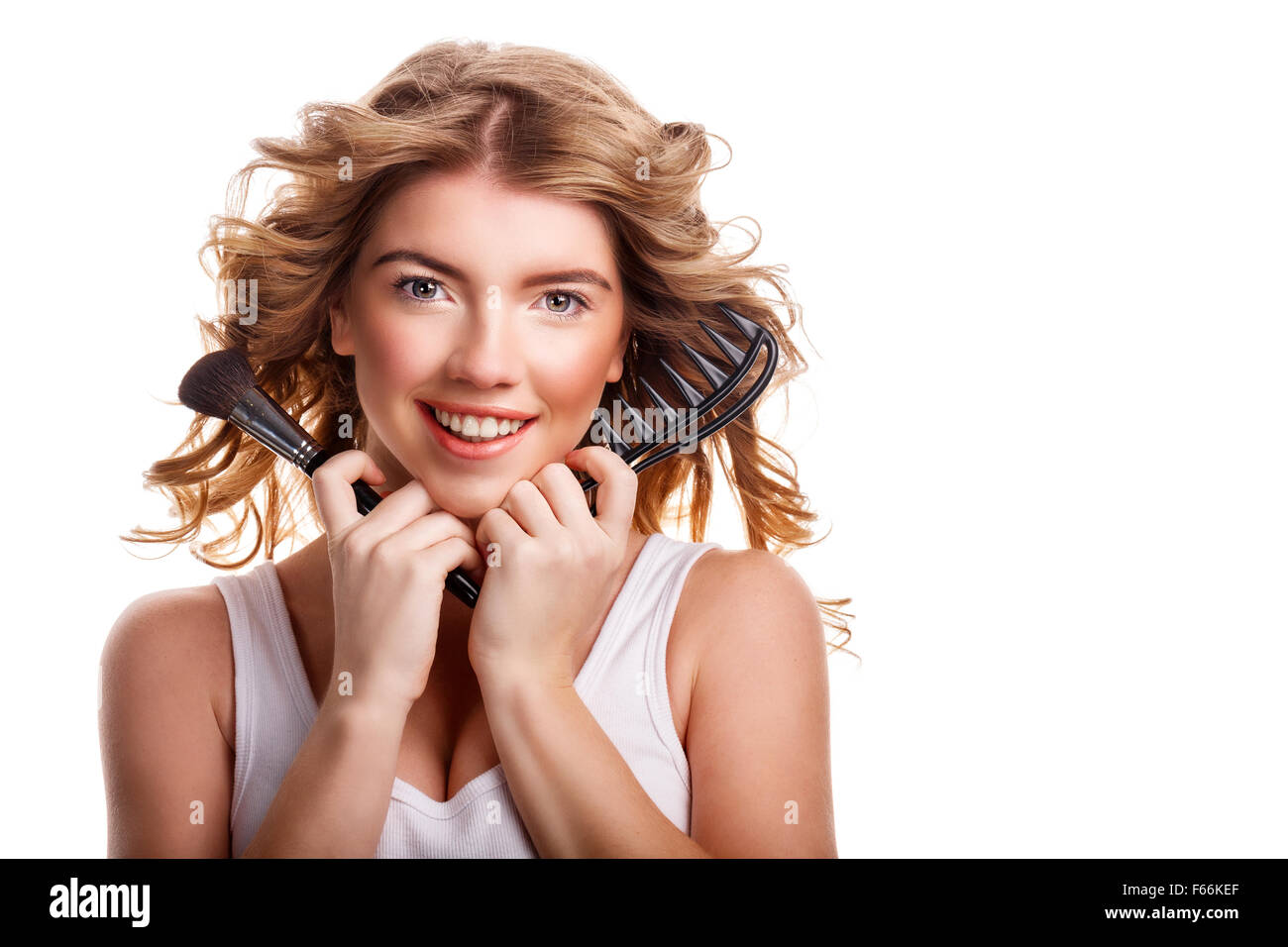Beautiful Girl Holding Fashion Beauty Magazine Stock Image: Comb Female Hair Stock Photos & Comb Female Hair Stock