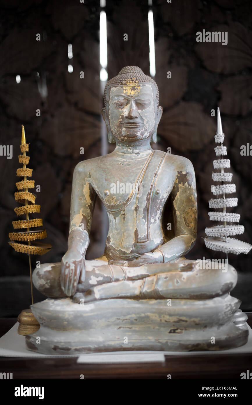 The Antique Buddha Statue - Surat Thani, Thailand - Stock Image