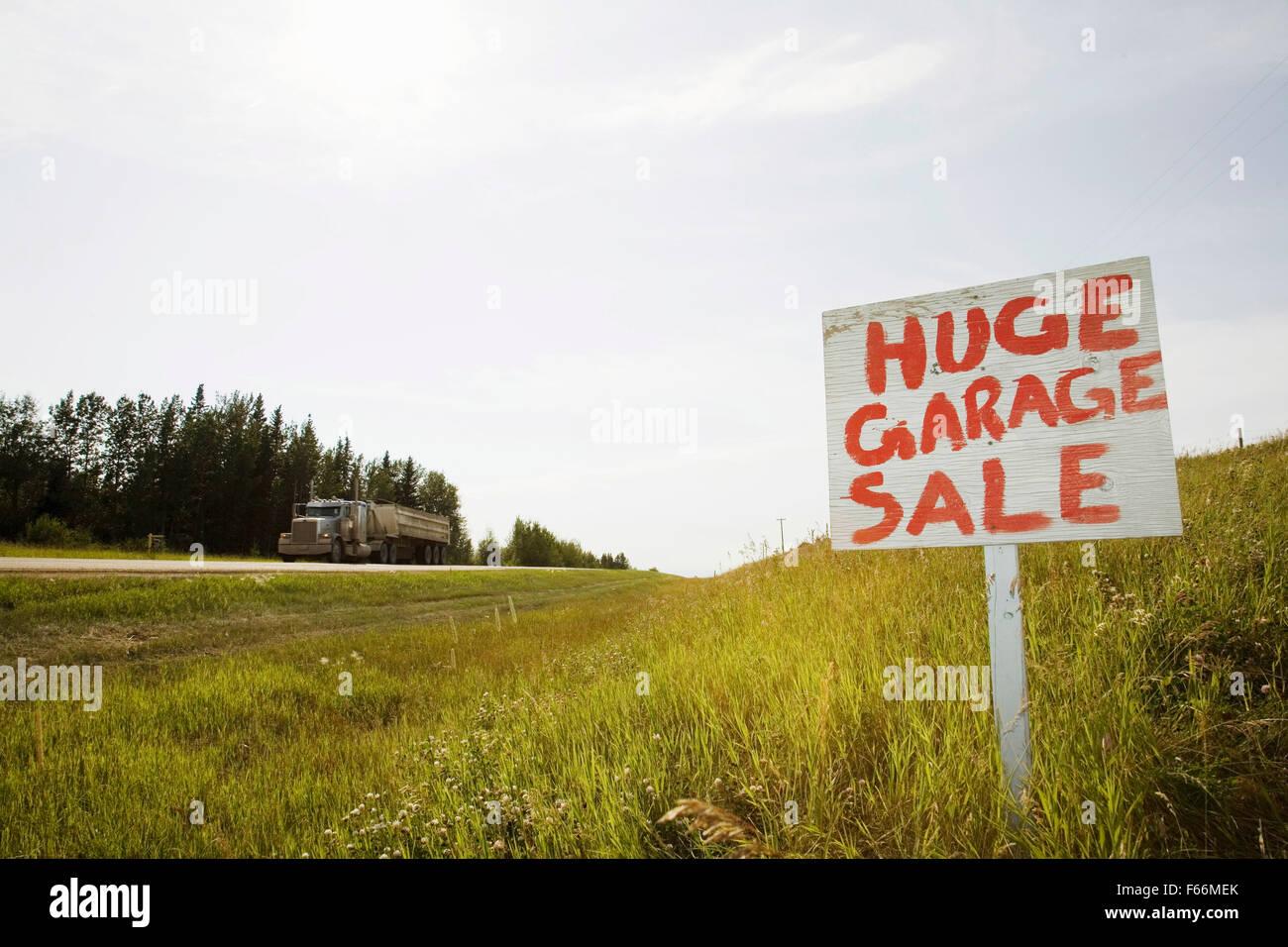 garage sale sign Central Alberta. Canada - Stock Image
