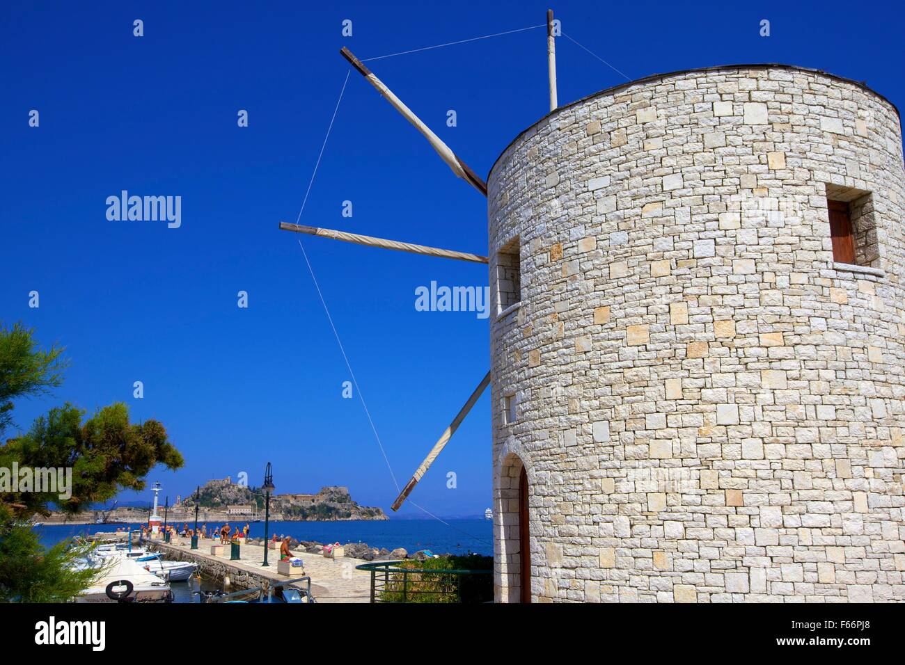 Windmill At Mon Repos Beach, Corfu Town, Corfu, The Ionian Islands, Greek Islands, Greece, Europe - Stock Image