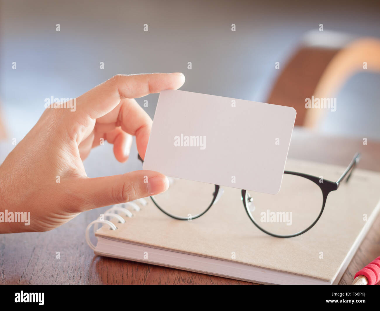 Woman hold blank business cards, stock photo Stock Photo: 89889286 ...