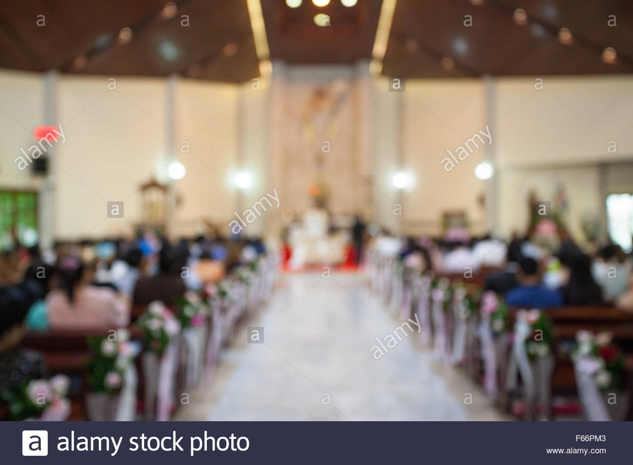 image of blur wedding in church background usage. - Stock Image