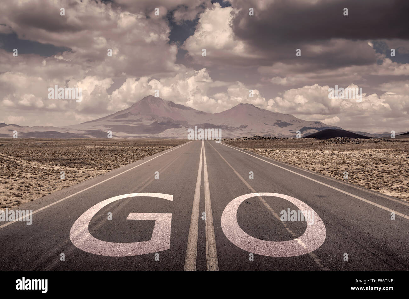go text on the road - Stock Image