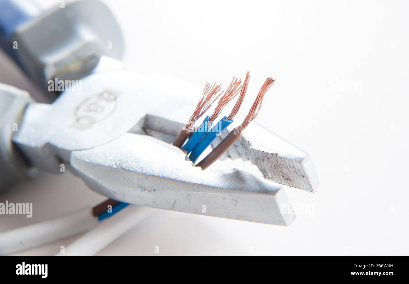 Household Wiring Uk Stock Photos Images Diy Electrical Australia Equiptment For The Home Including Pliers And Blue Neutral Brown Live Wires