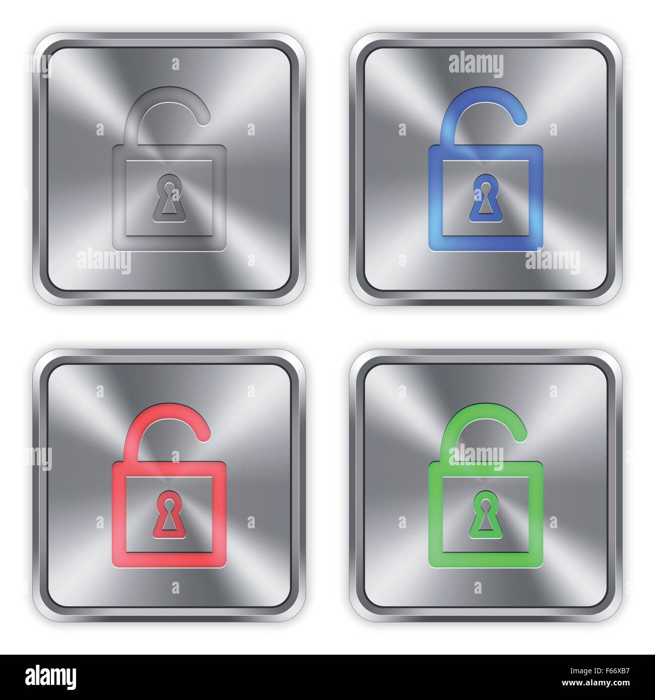 Color unlocked padlock icons engraved in glossy steel push buttons. Well organized layer structure, color swatches - Stock Vector