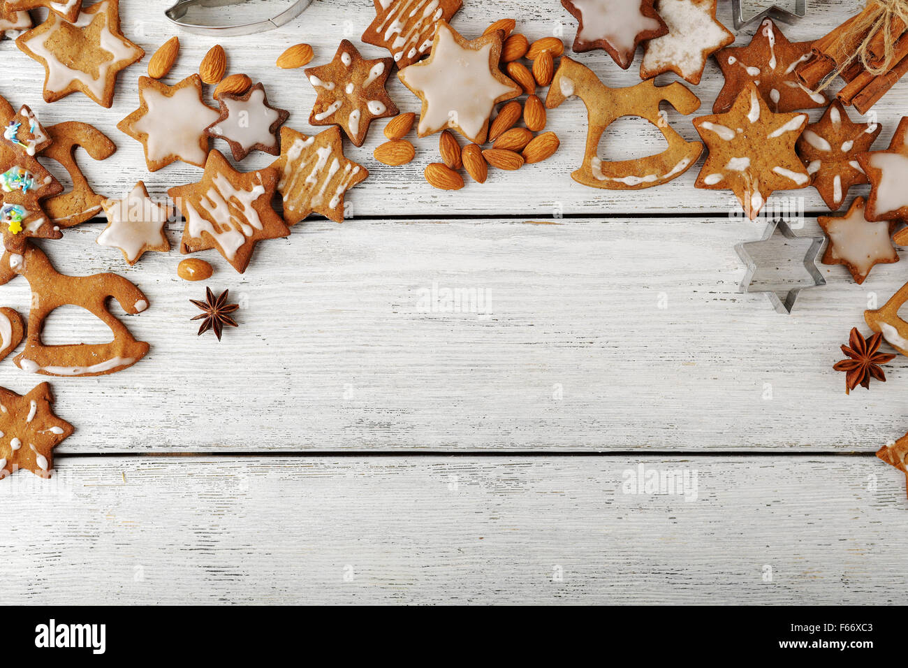 christmas cookies on white boards, food top - Stock Image