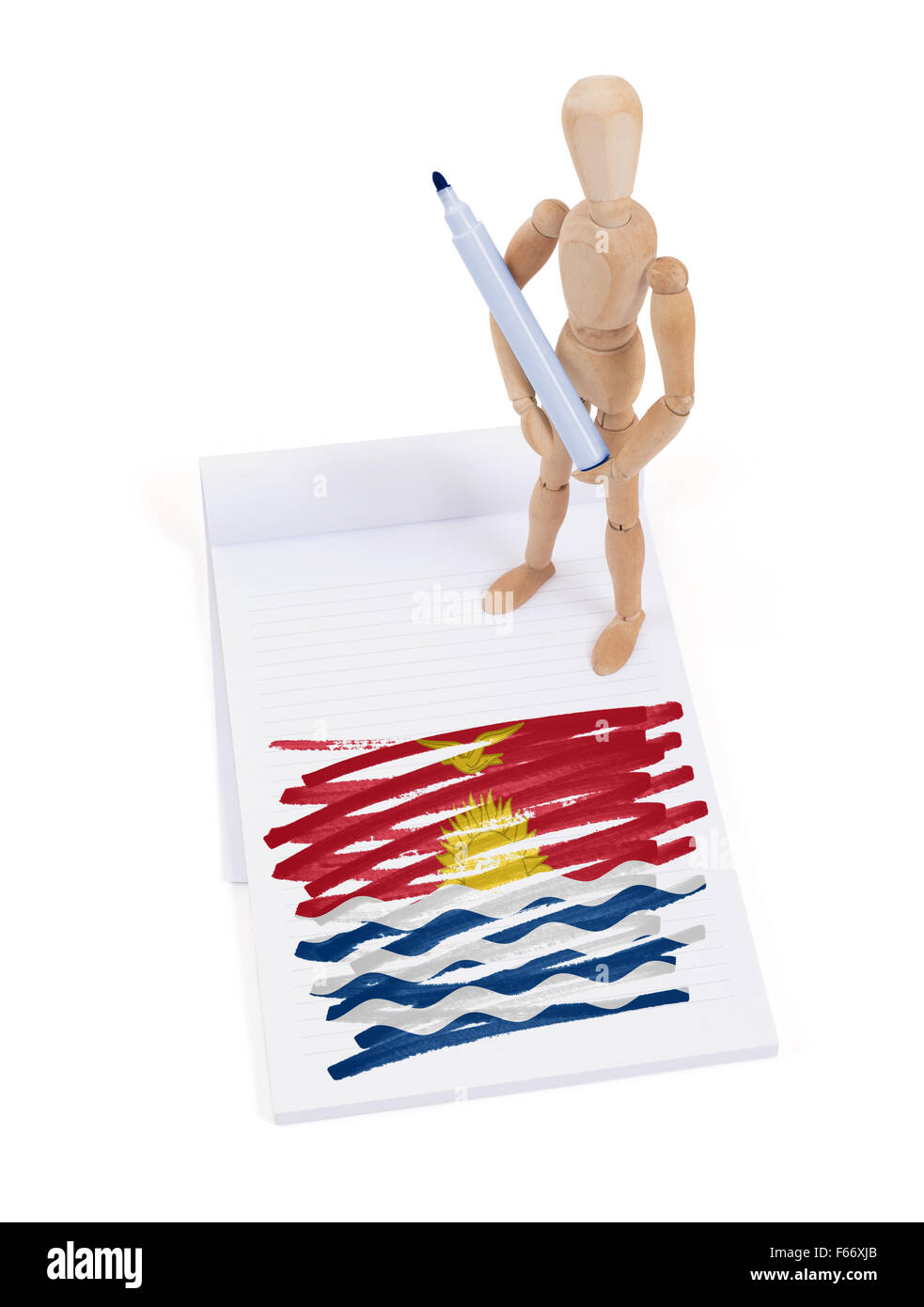 Wooden mannequin made a drawing of a flag - Kiribati - Stock Image