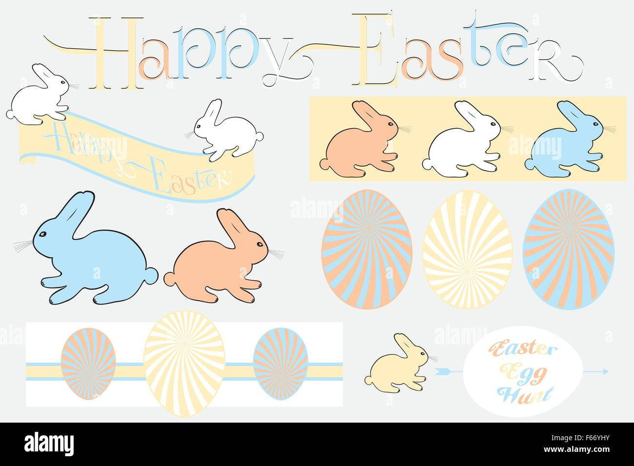 Happy easter design elements im retro look isolated - useful for designers - Stock Vector