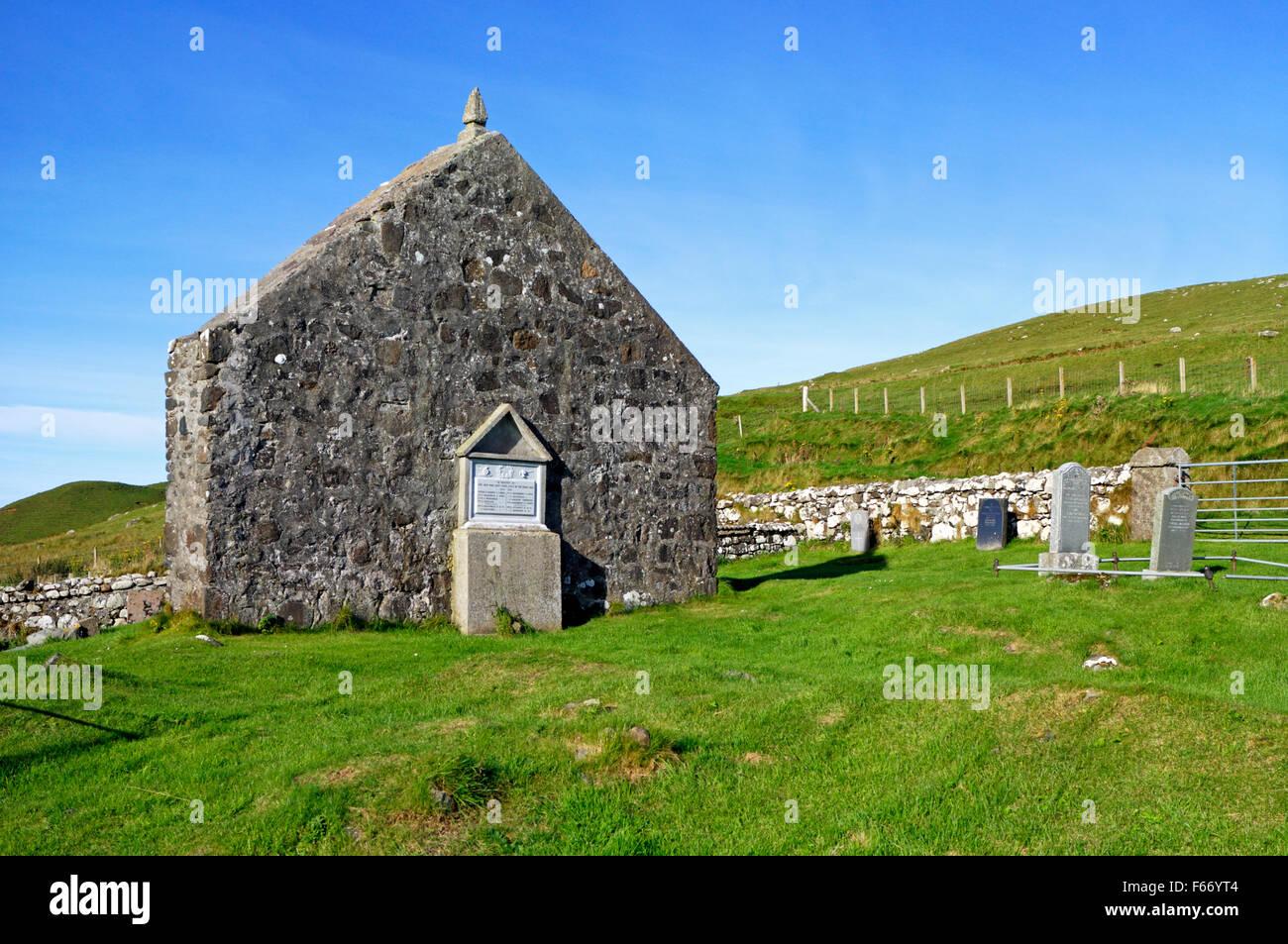 A view of the ruined church of St Moluag at Kilmaluag, Kilmuir, Trotternish, Isle of Skye, Inner Hebrides, Scotland, - Stock Image