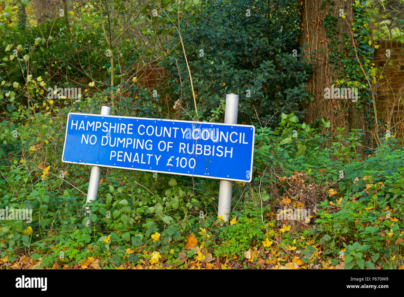 Sign erected by Hampshire County Council, no dumping of rubbish, England UK - Stock Image