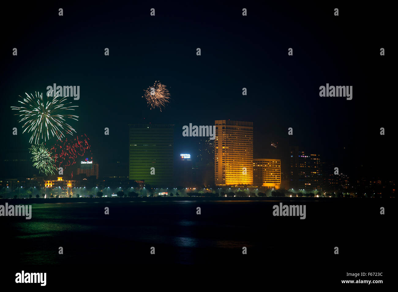 The image of Fire works at Marine drive was taken in Mumbai, India - Stock Image
