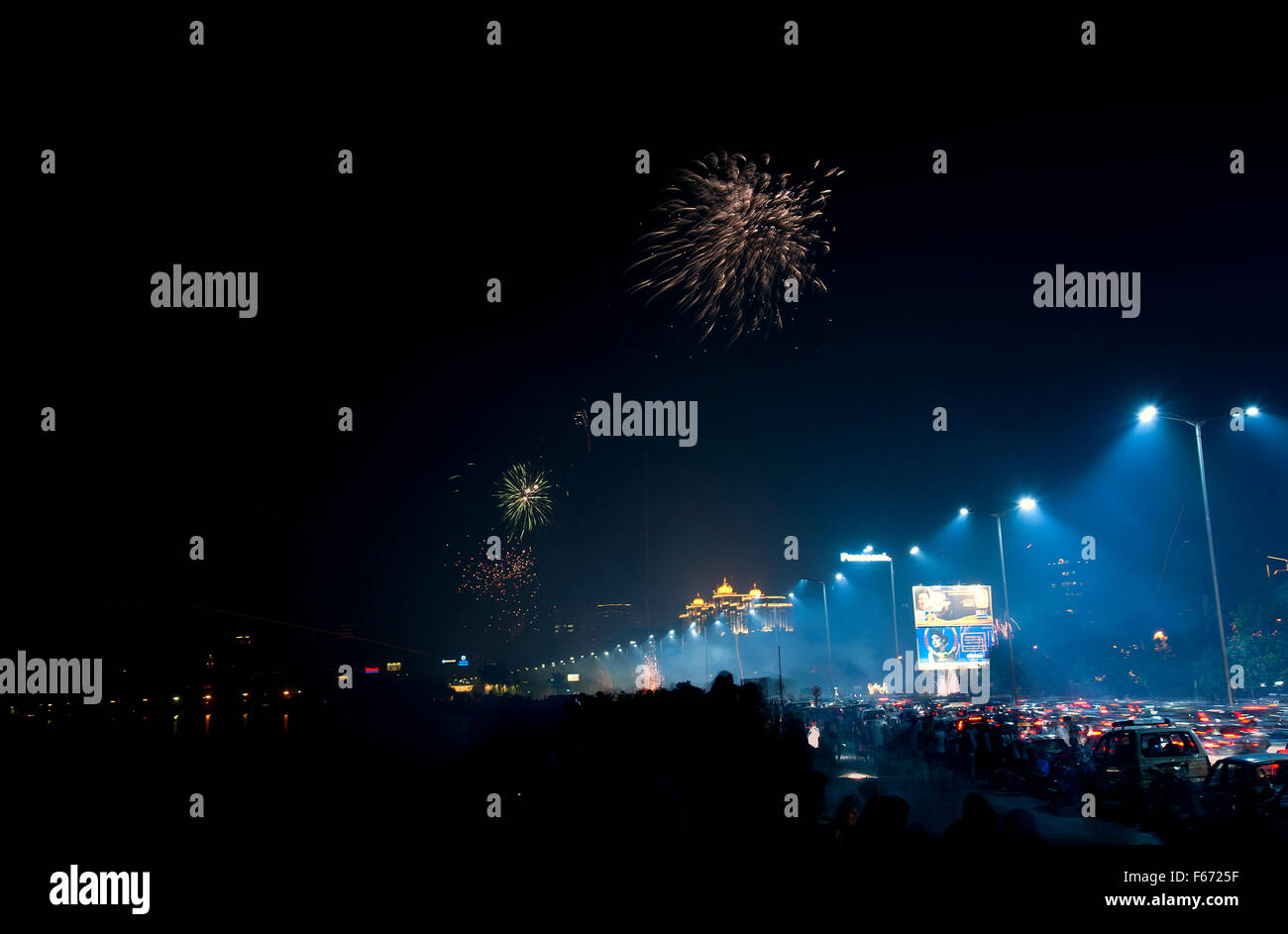 The image of Fire worksof Diwali celebration at Marine drive was taken in Mumbai, India - Stock Image