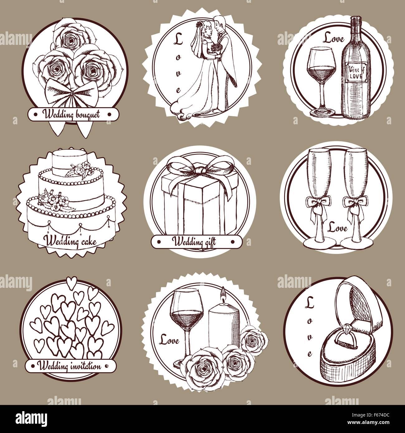 Sketch wedding logotypes in vintage style, vector - Stock Image