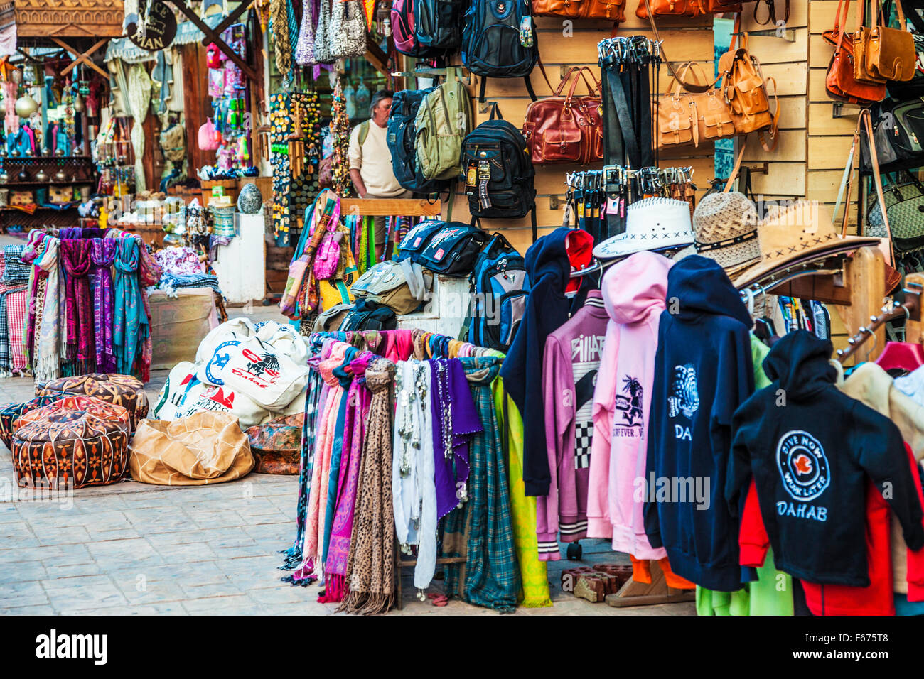 Clothing, bags and tourist souvenirs in Dahab, Egypt. - Stock Image