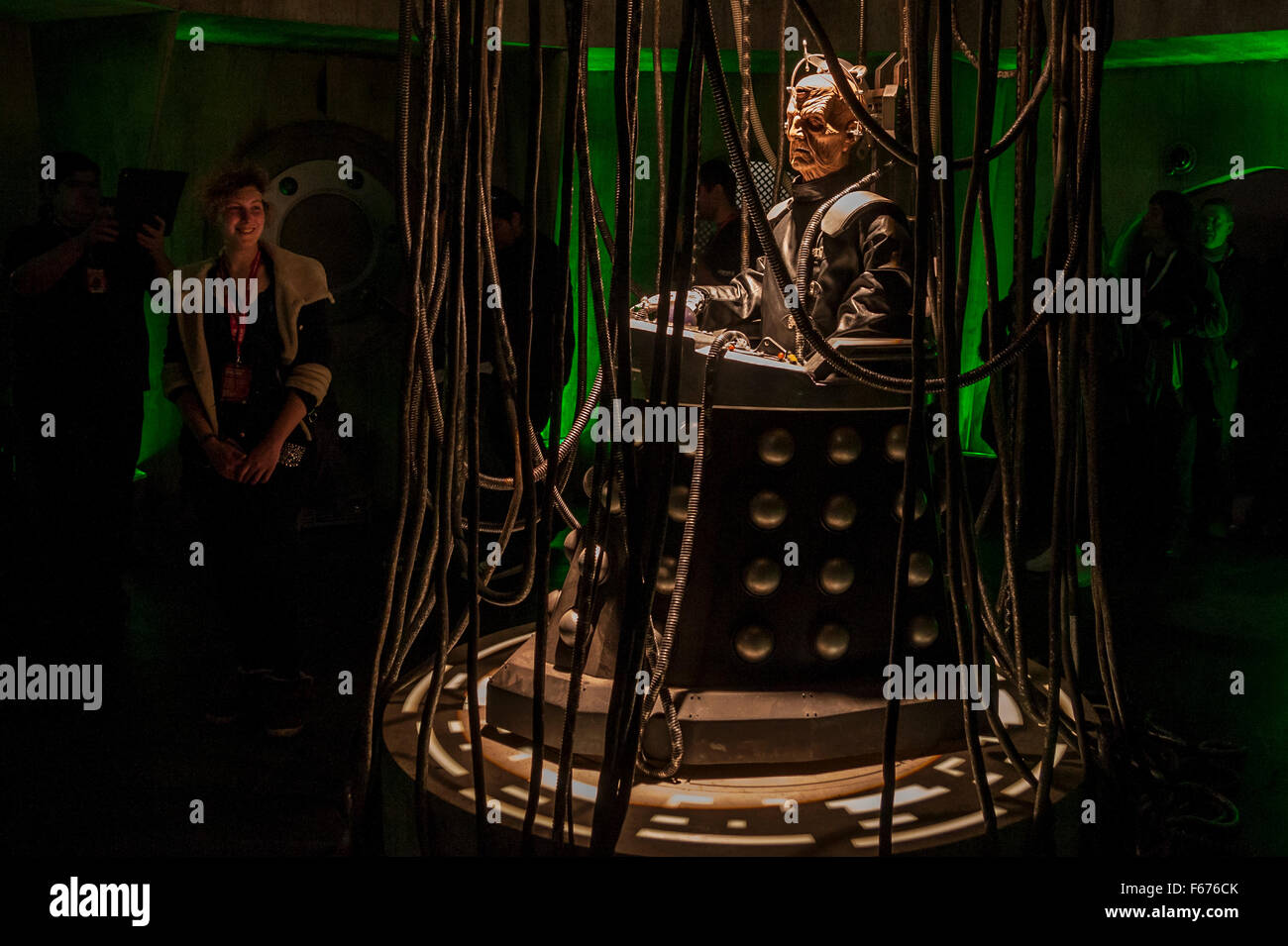London, UK.  13 November 2015.  Fans gather to meet Doctor Who's enemy, Davros, at the Excel Centre for the - Stock Image
